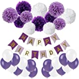 Happy Birthday Banner, Recosis Birthday Bunting Paper Garland with 12pcs Tissue Paper Pom Poms and 20pcs Balloons for Birthday Party Decorations - Purple, Lavender and White