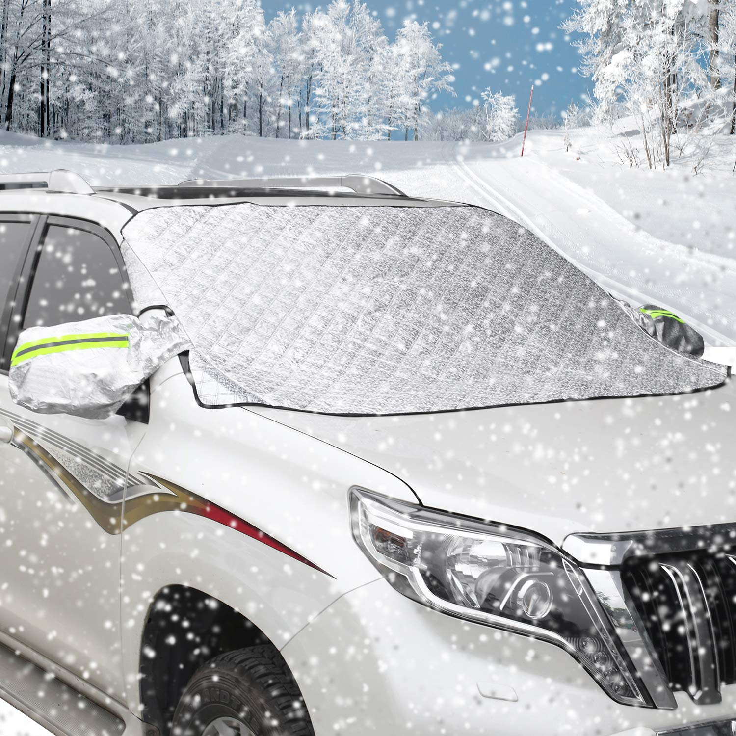Large Sun Shade Protector with Rearview Mirror Protector and Anti-Theft Edges AUTSCA Car Windshield Snow Cover for SUV