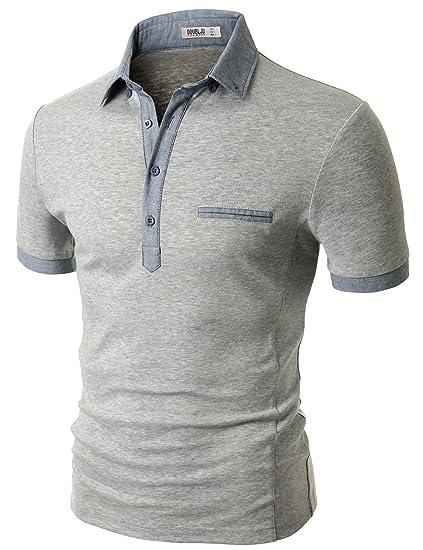 Doublju Men Soft Short Sleeve Slim Fit Polo Shirt Gray,2XL
