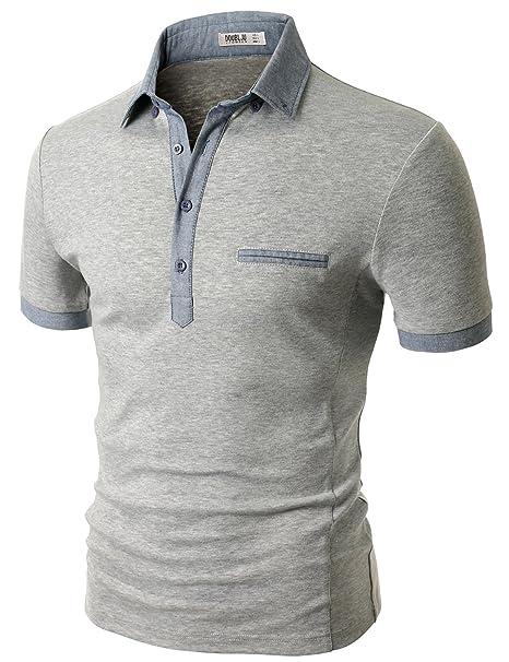 96be1cda224 Doublju Men Soft Short Sleeve Slim Fit Polo Shirt Gray