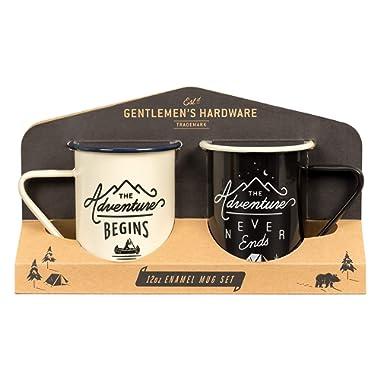 Gentlemen's Hardware Enamel Camping Coffee Mugs, Set of 2, Cream