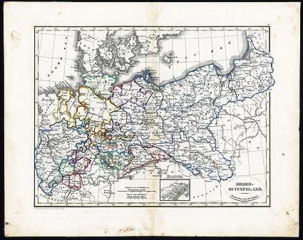 Amazon Com Antique Map Northern Germany Poland Prussia Heyse