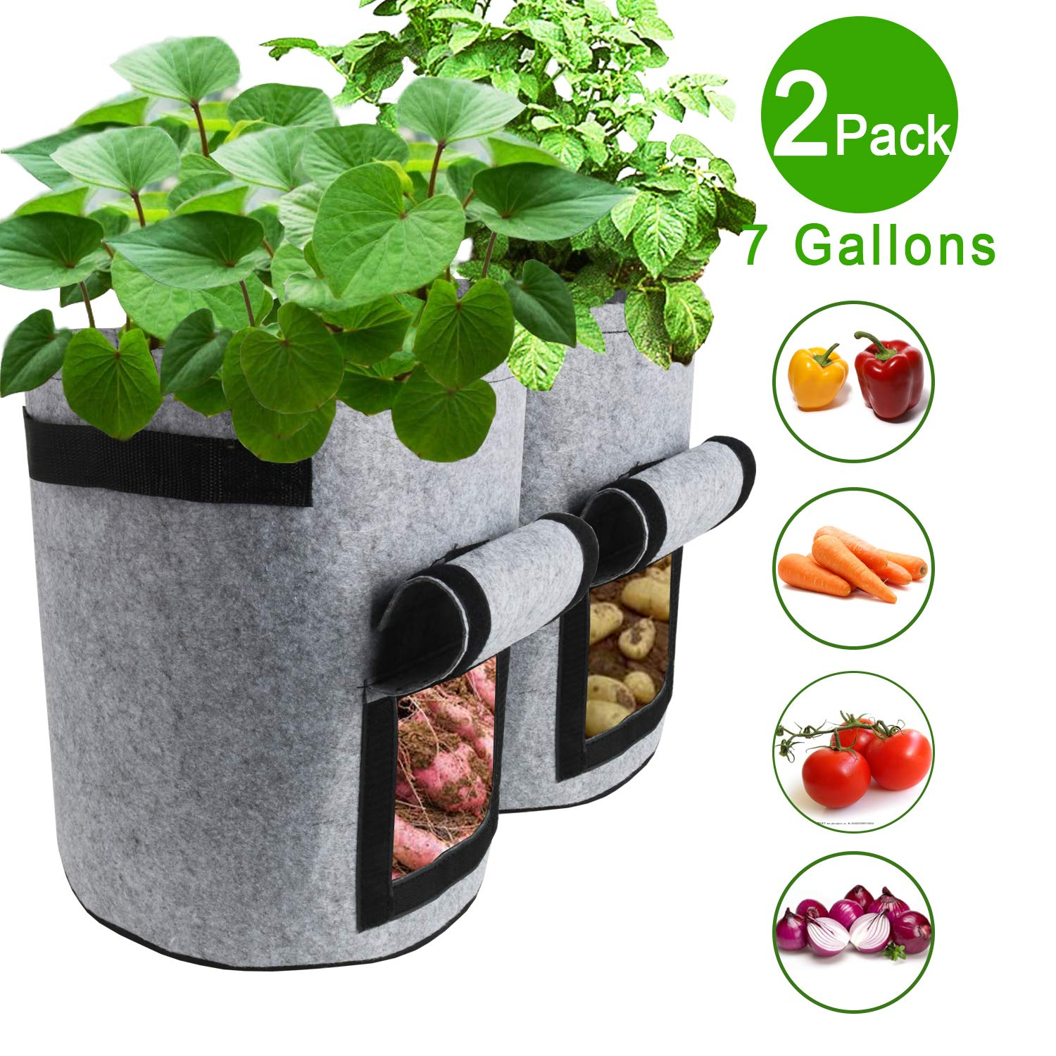 TQQFUN 2 Pack 7 Gallon Smart Potato Bags Velcro Window Vegetable Bags, Double Layer Premium Breathable Nonwoven Cloth for Potato Aeration Fabric Pots with Handles Gray