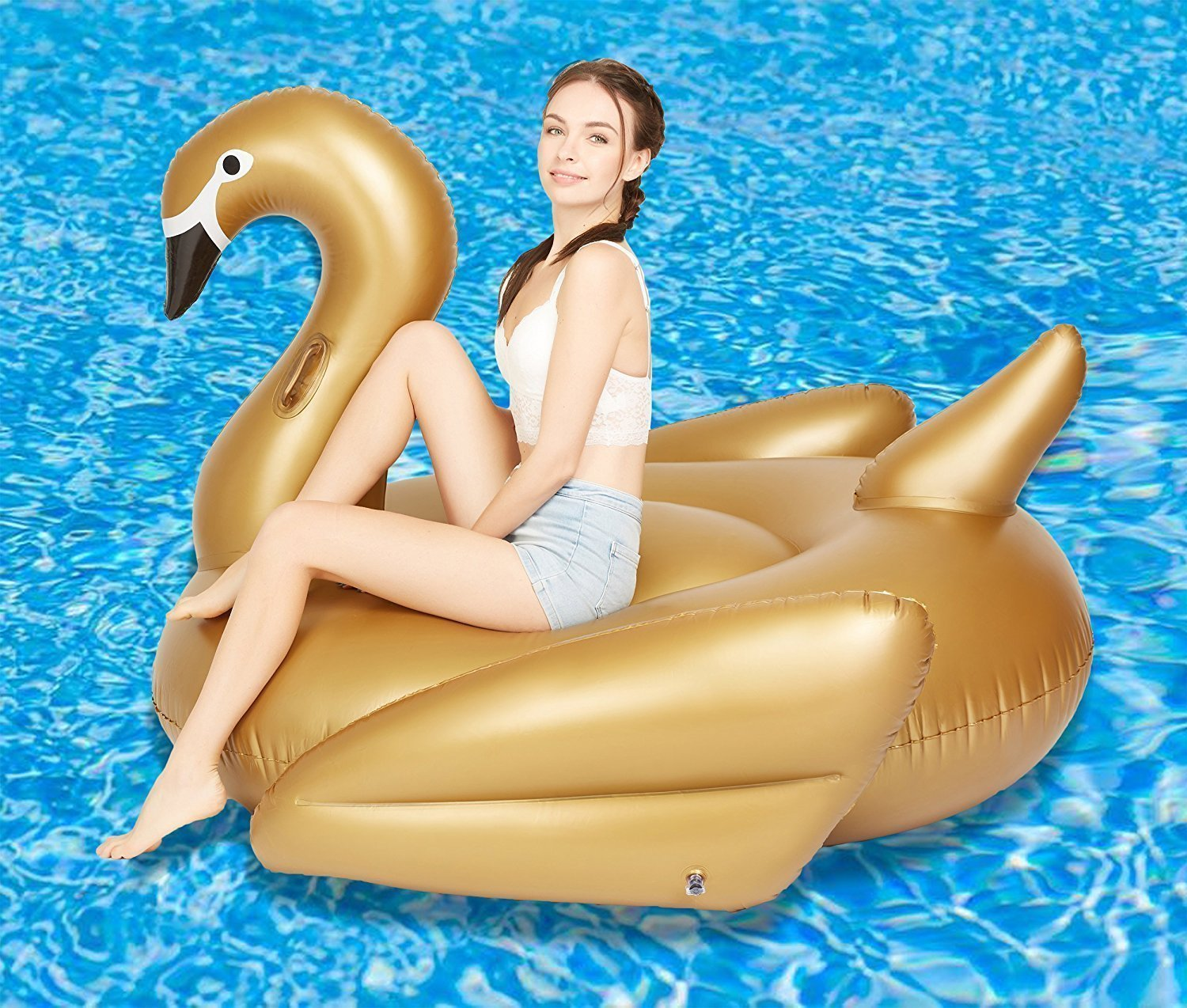 gold Swan, 190x190x125cm Woneart Giant Inflatable Flamingo Unicorn Pool Float Raft Summer Outdoor Swimming Water Pool Float Fun Toy Party Beach Floating Swim Ring for Adults Kids (gold Swan, 190x190x125CM)