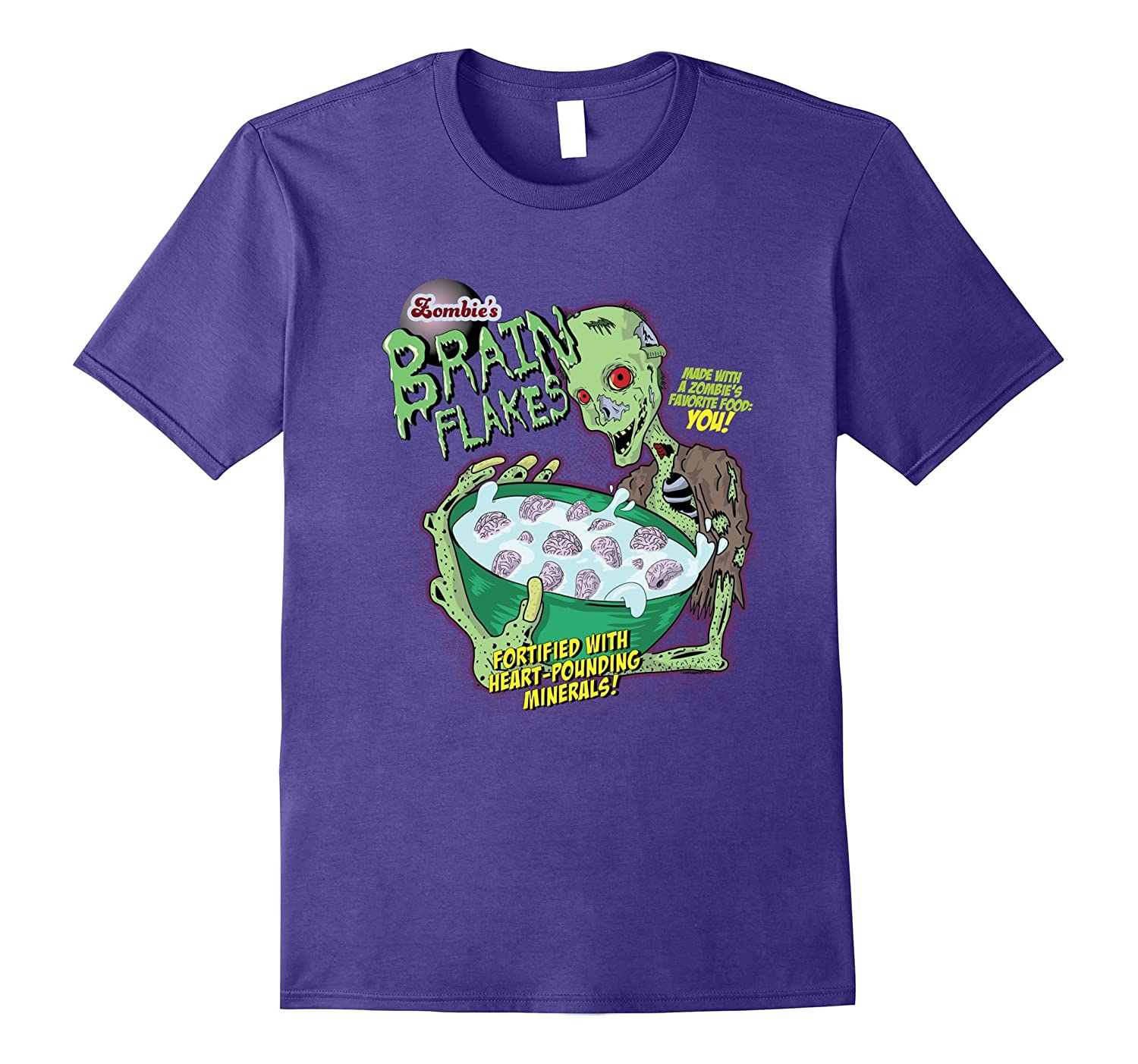 Zombie Brain Flakes Cereal Undead Halloween T-Shirt-CL