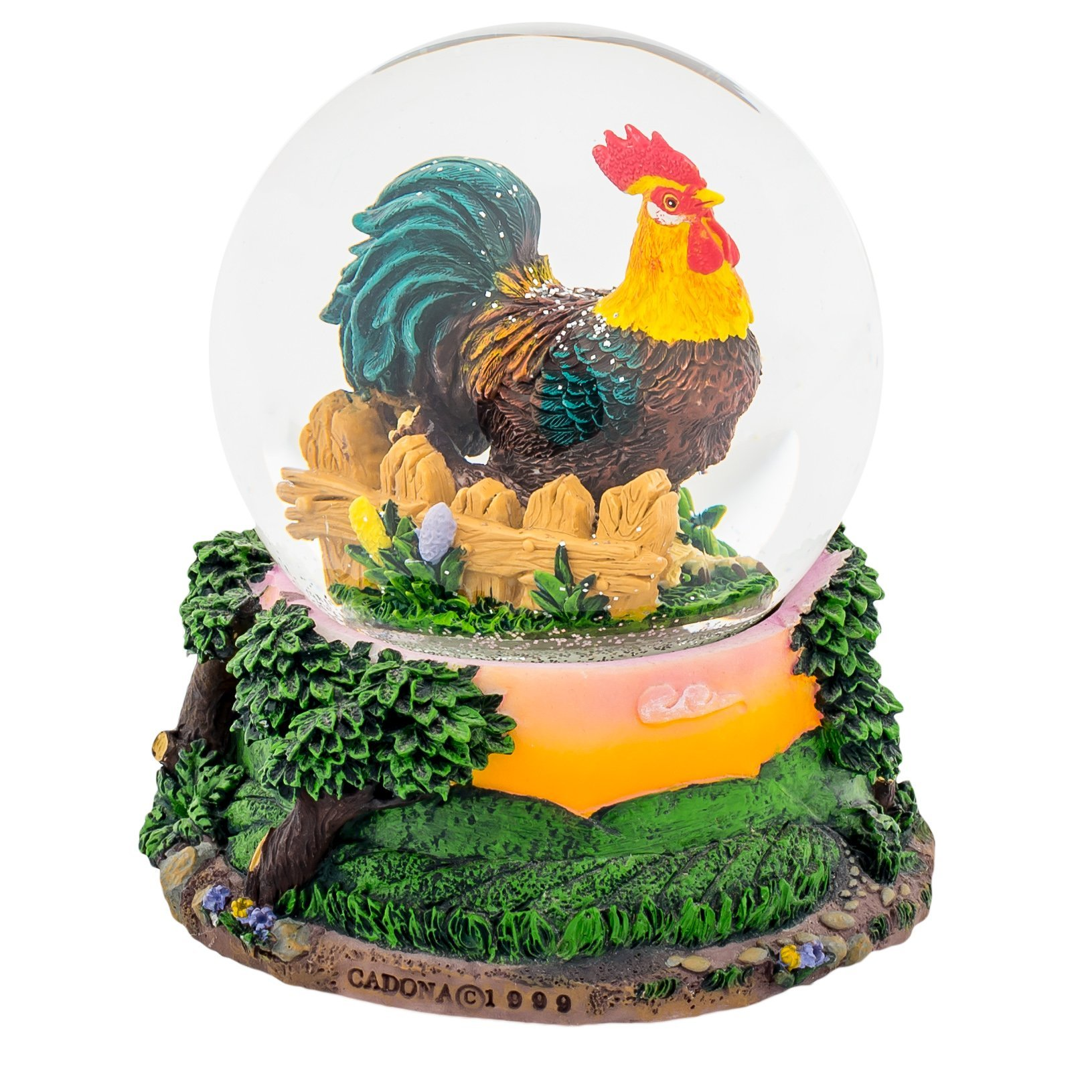 Sunrise Rooster and Picket Fence 100MM Water Globe Plays Tune Home on the Range by Cadona International, Inc