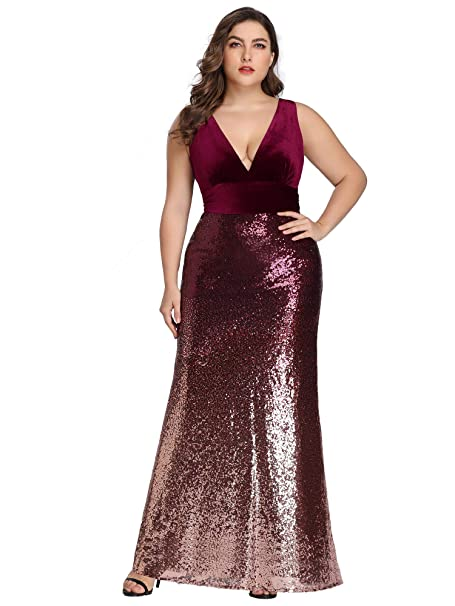 Alisapan Womens Sequin V-Neck Evening Gown Mermaid Plus Size Prom Dress  77671