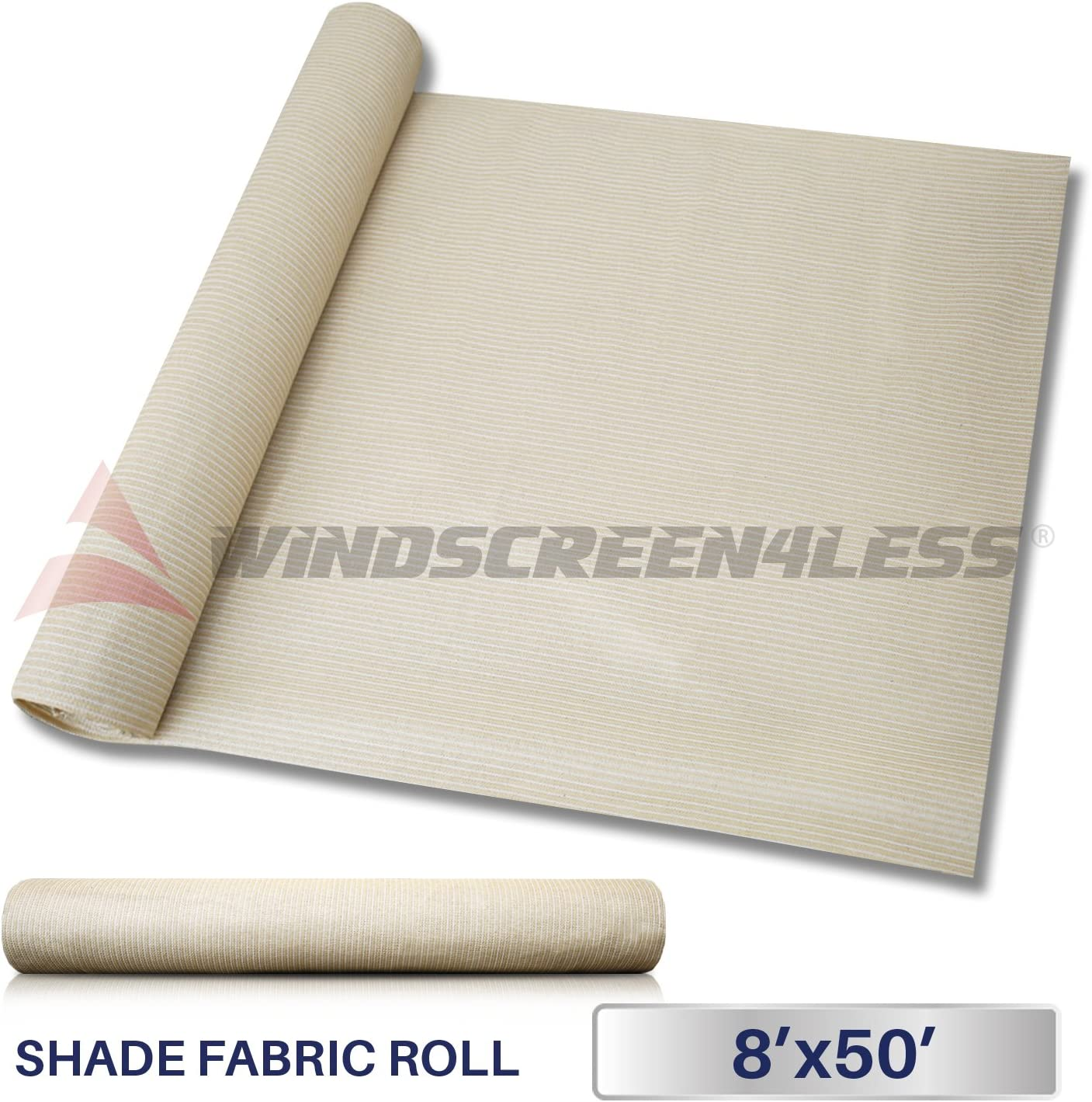 Windscreen4less Beige Sunblock Shade Cloth,95 UV Block Shade Fabric Roll 8ft x 50ft
