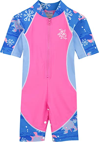 6276779ea Amazon.com: Tuga Girls Low Tide S/S Swimsuit (UPF 50+), Pink Wave, 2 ...