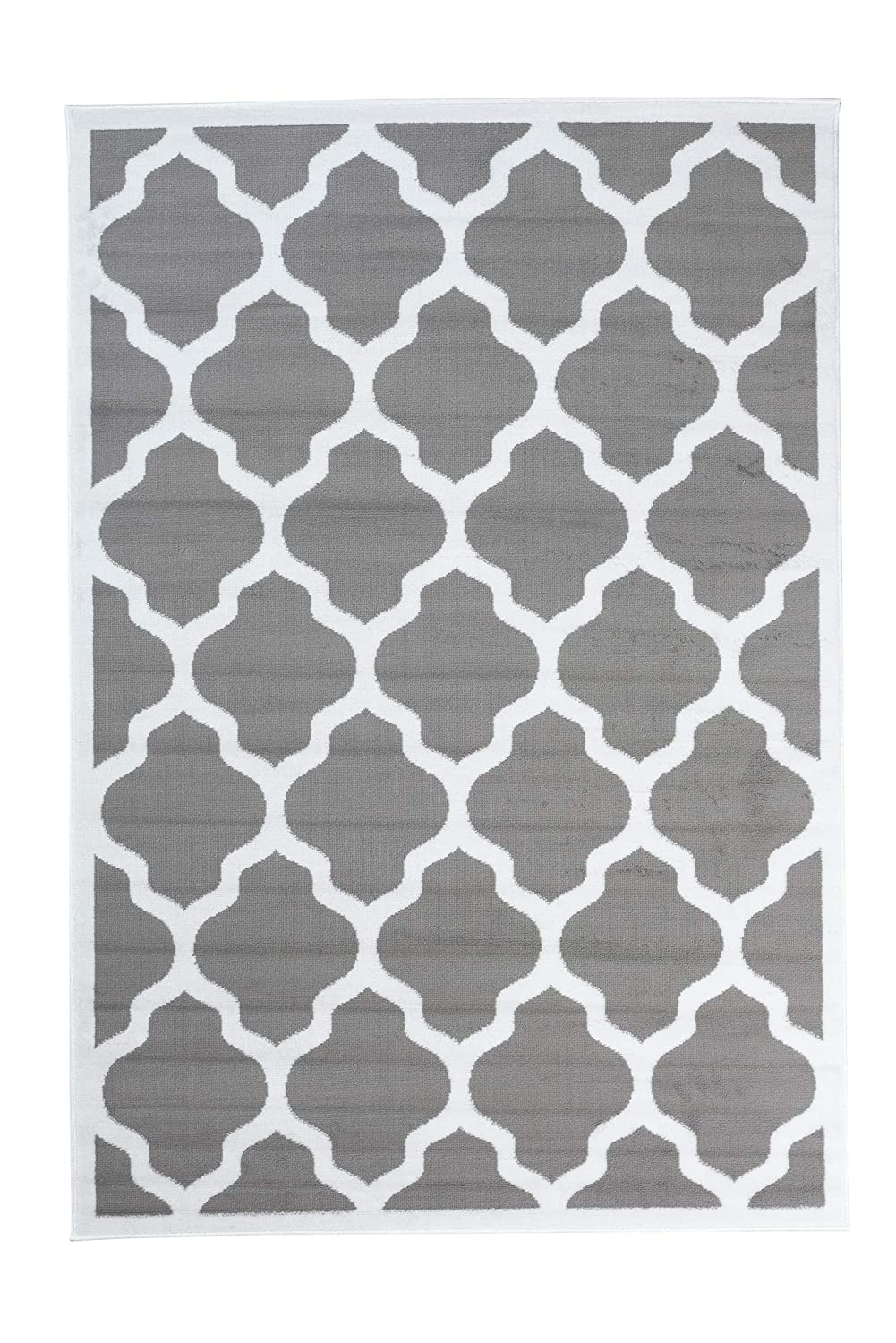 Tapiso Collection Luxury Tapis de Salon Chambre Moderne Couleur Gris Clair Blanc Motif G/éom/étrique Facile dentretien Haute Qualit/é 80 x 150 cm