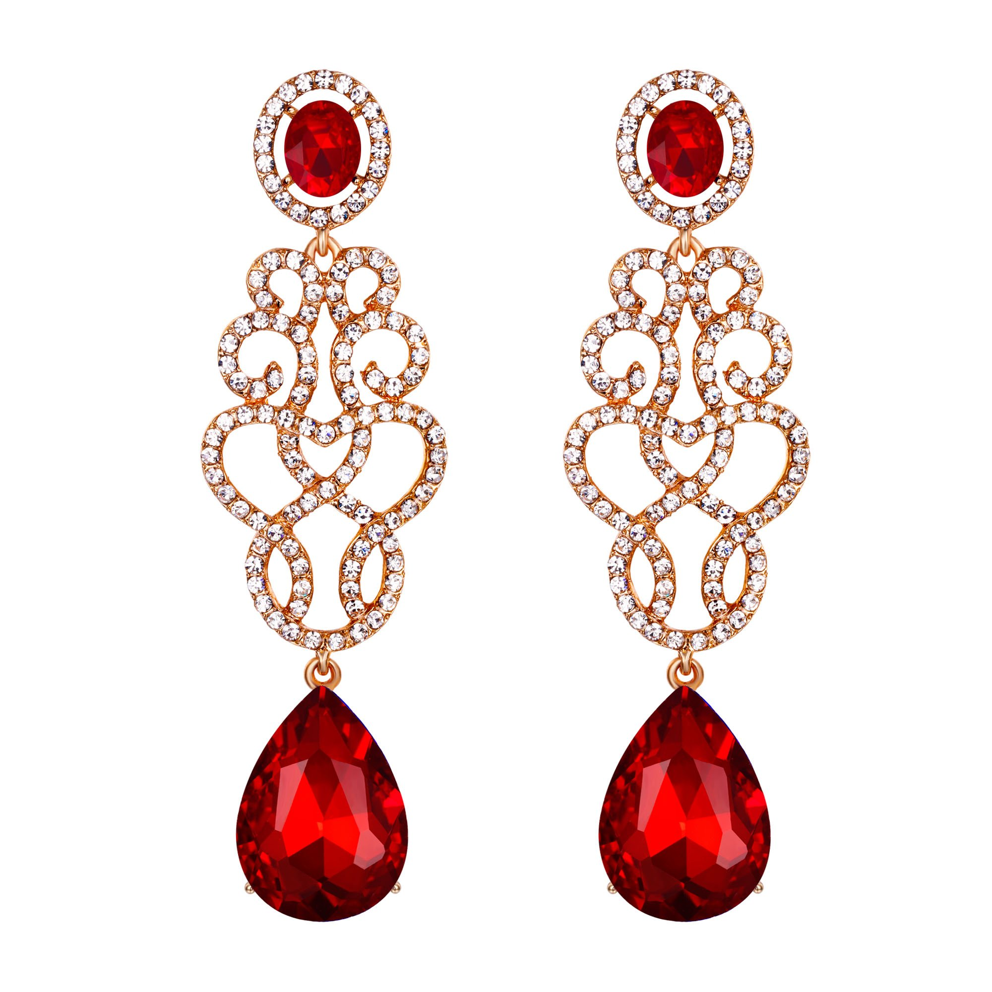 BriLove Gold-Toned Dangle Earrings for Women Wedding Bridal Crystal Floral Filigree Teardrop Chandelier Earring Ruby Color