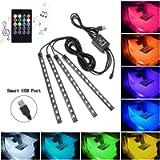 Car LED Strip Lights, 4pcs 48 USB LED Interior Lights, Multicolor Music Car Strip Light Under Dash Lighting Kit with…