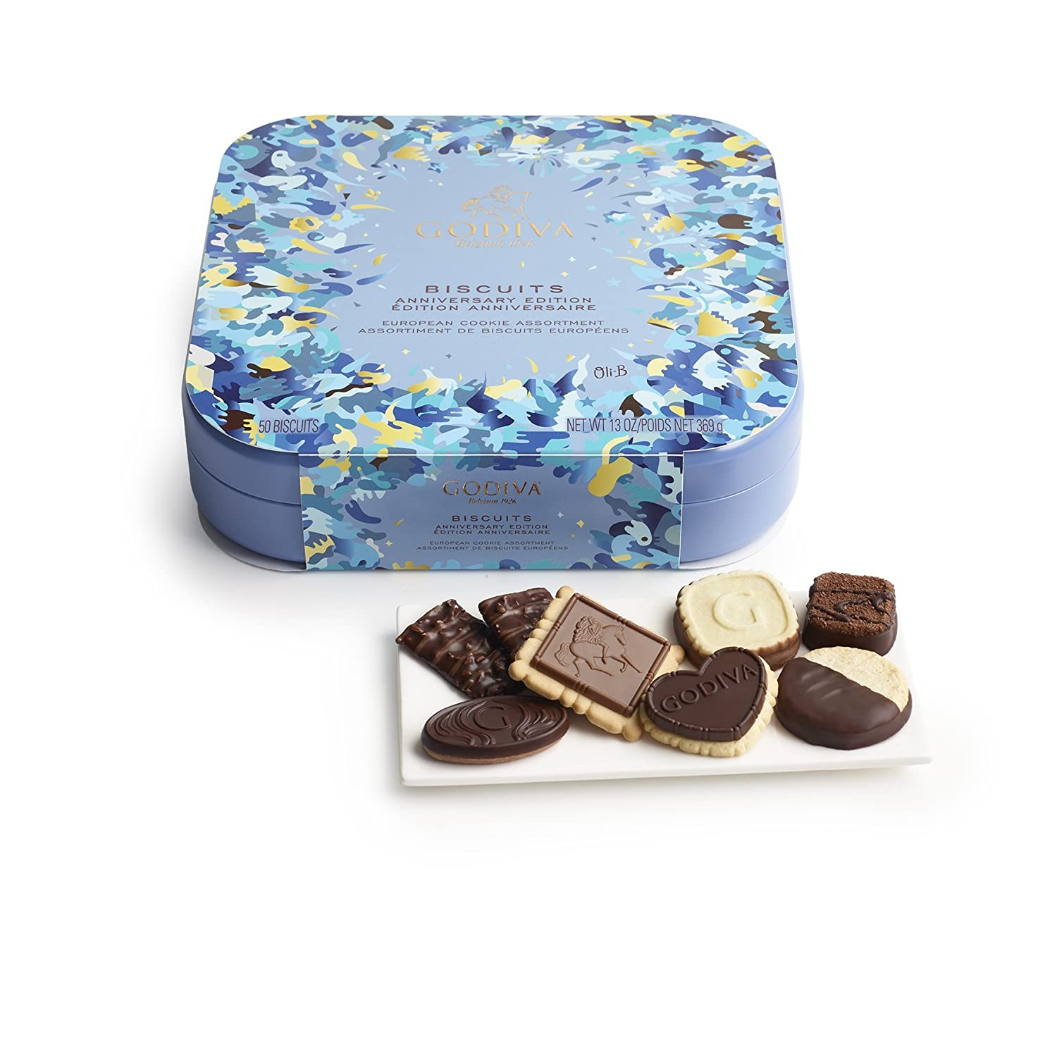 Amazon.com : Godiva Chocolatier 50 Piece Biscuit Tin With Sleeve ...