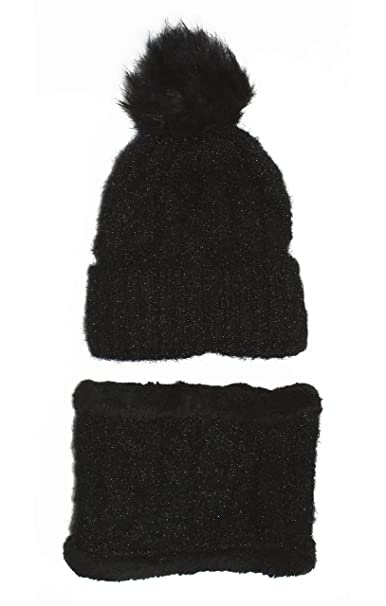 619ae12ea08b3 Best 2 Piece Black Ribbed Cable Knitted Head Hat Scarf Set Women Faux Fur  Pom Pom Tassel Snow Ski Pink Unique Trendy Summer Gift Idea for Wife Her  Teen Girl ...