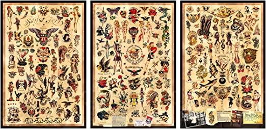 Amazon.com: 3 – Sailor Jerry Tattoo Tamaño de carteles 12 ...