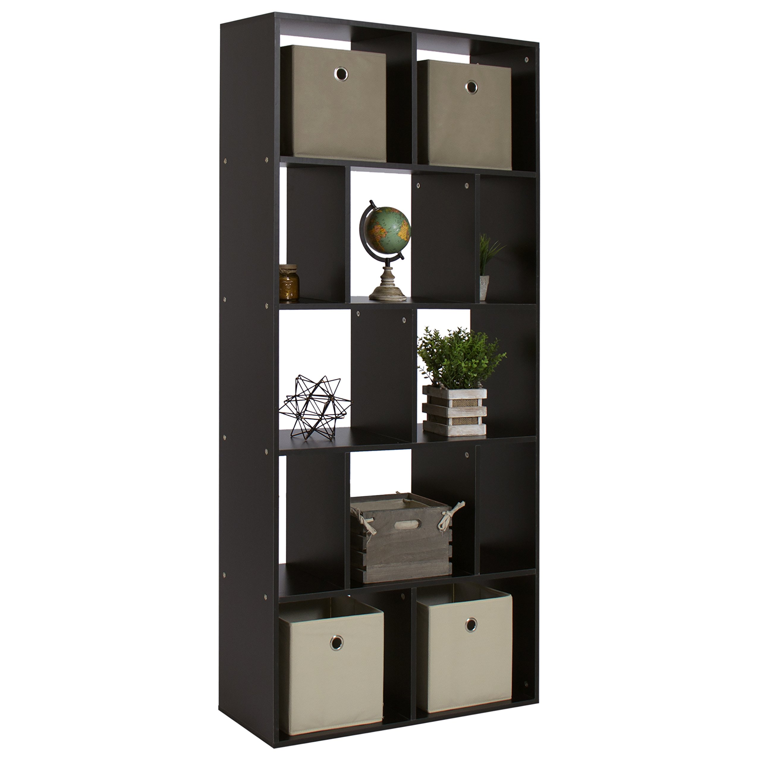 Best Choice Products 12-Shelf Home Furniture Open Cube Modular Design Leveled Bookcase Shelving Cubby Organizer Rack Display Decor for Living Room, Office - Black