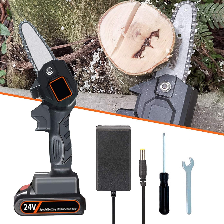 Motosierra eléctrica bateria, Sierra electrica para podar 550w, Mini Sierra electrica jardin, Corte constante 1,5 horas, Diseño ligero 700g, para corte de madera de árbol por TZUTOGETHER