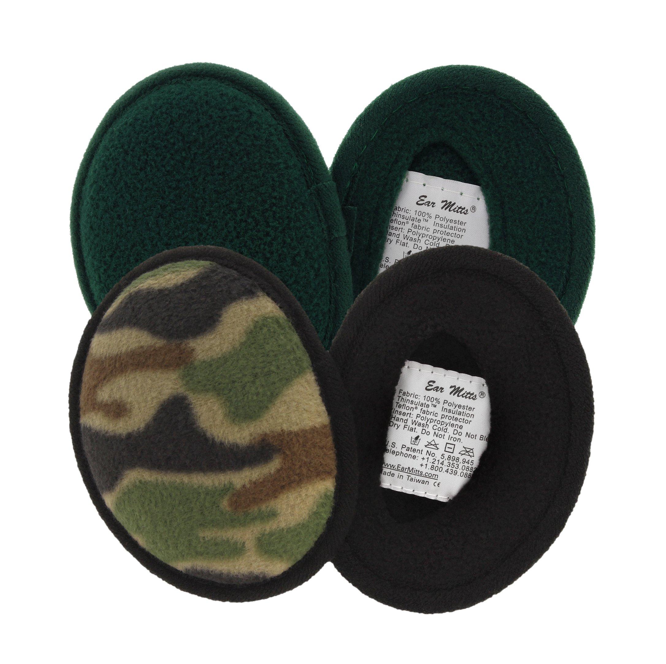 2 Pack Ear Mitts Fleece Bandless Ear Muffs For Men, Camo & Forest Green, Small