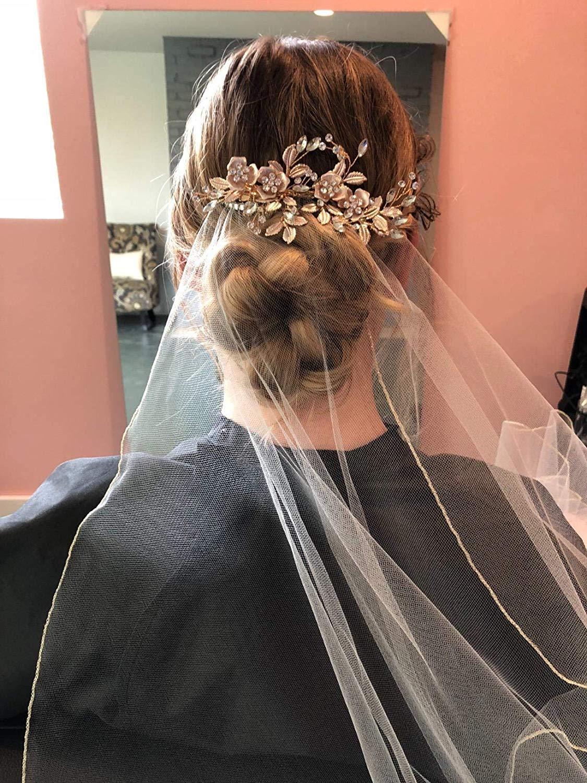 Flower Hair Clip Light Rose Gold Bridal Wedding Headpiece Alloy Leaf Flower Rhinestone Twig Decorative Headdress Elegant Fairy Hair Decoration