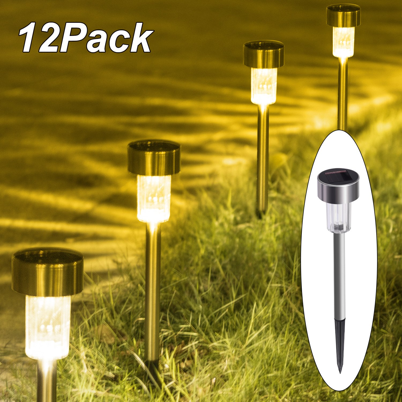 iHomy Warm White Solar Garden Lights, Outdoor Stainless Steel Solar Landscape Lights, For Lawn,Patio,Yard,Walkway,Driveway (12 PACK)