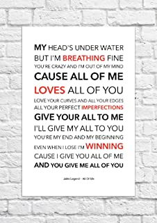 Bild Mit John Legend Liedtext All Of Me Loves All Of You Print