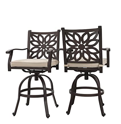 Astounding Phi Villa Extra Wide Outdoor Patio Pub Height Swivel Bar Stools Cast Aluminum Arms Chairs Set Of 2 With Seat Cushion Pdpeps Interior Chair Design Pdpepsorg