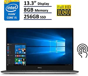 Dell XPS 13 9360 Laptop - 13.3in Anti-Glare InfinityEdge TouchScreen FHD (1920x1080), Intel Core i5-7200U, 256GB NVME PCIe M.2 SSD, 8GB RAM, Windows 10 - Silver (Renewed)