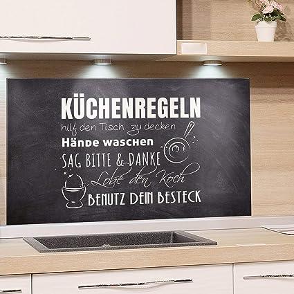 GRAZDesign Glasplatte Küche Küchensprüche - Spritzschutz Küche Glas  Küchenmotiv - Wandpaneele Küche Steinoptik - Küchenrückwand Glas  Küchenregeln / ...