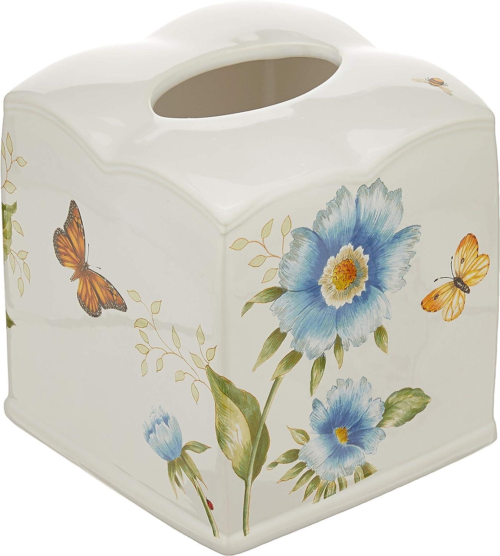 Lenox Butterfly Meadow Floral Garden Tissue Holder, Blue
