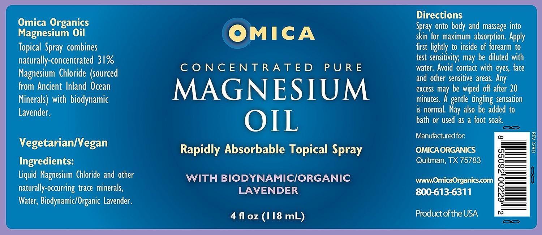 Spray de aceite de magnesio con lavanda biodinámica (118 ml) - Minerales del océano puro antiguo en el interior