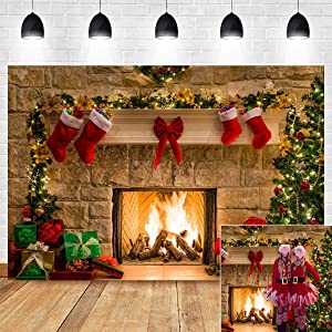 Christmas Themed Home Decor Photography Backdrop Photo Booth Christmas Tree Fireplace Children Birthday Newborn Baby Shower Vinyl 5x3ft Photo Background Studio Props Party Banner Supplies