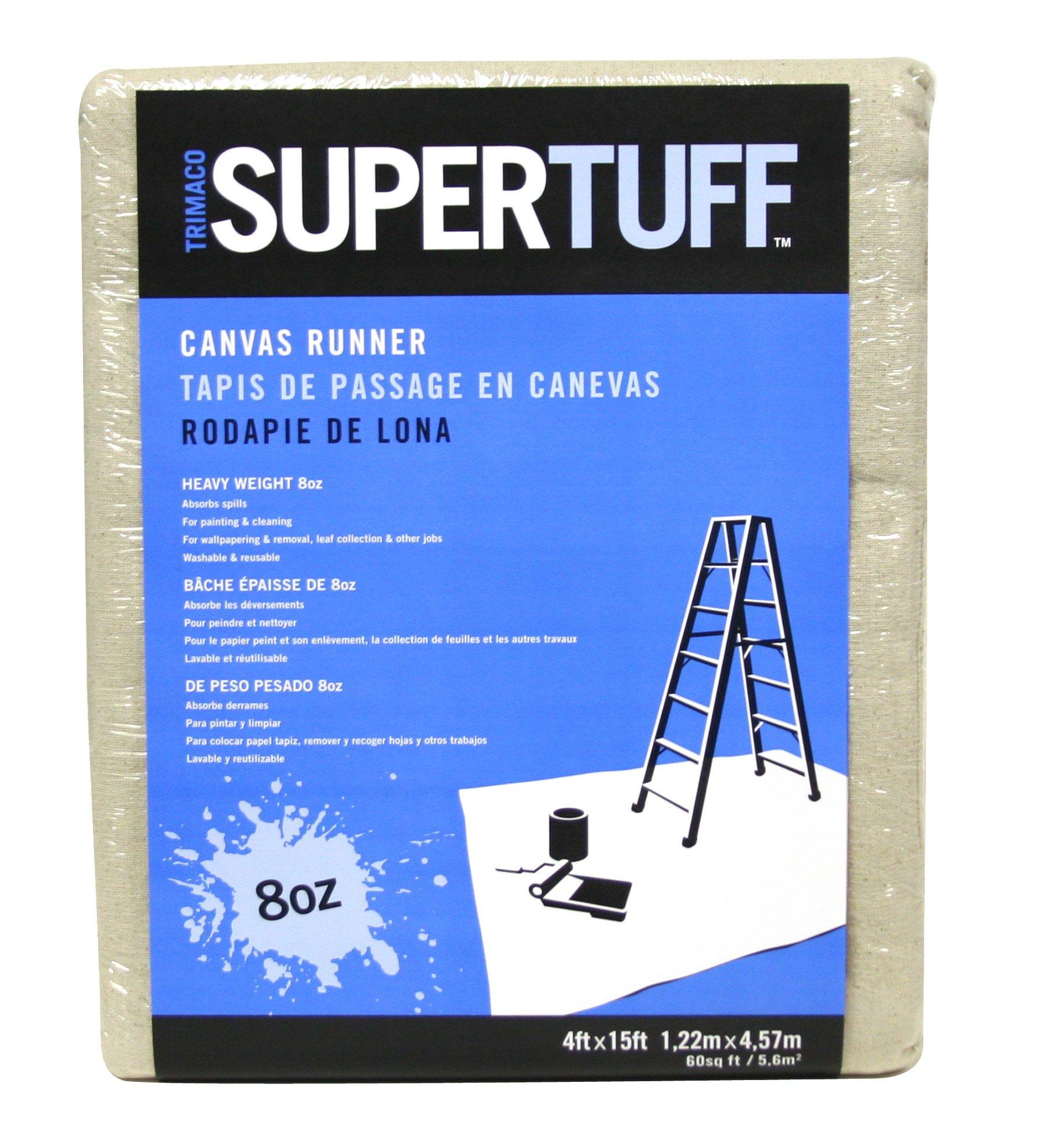 Trimaco 58908 8 oz Premium Contractor Grade Heavyweight Canvas Drop Cloth, 4' X 15'