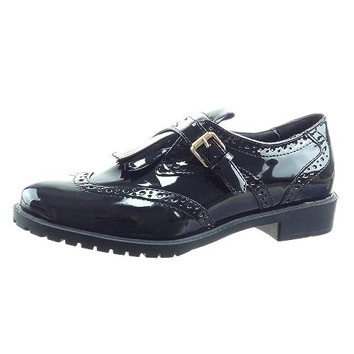 Sopily - Zapatillas de Moda Mocasines Bailarinas Tobillo Mujer Perforado Hebilla Patentes Talón Tacón Ancho 3 CM - Negro WLD-8-L01-3 T 41: Amazon.es: ...