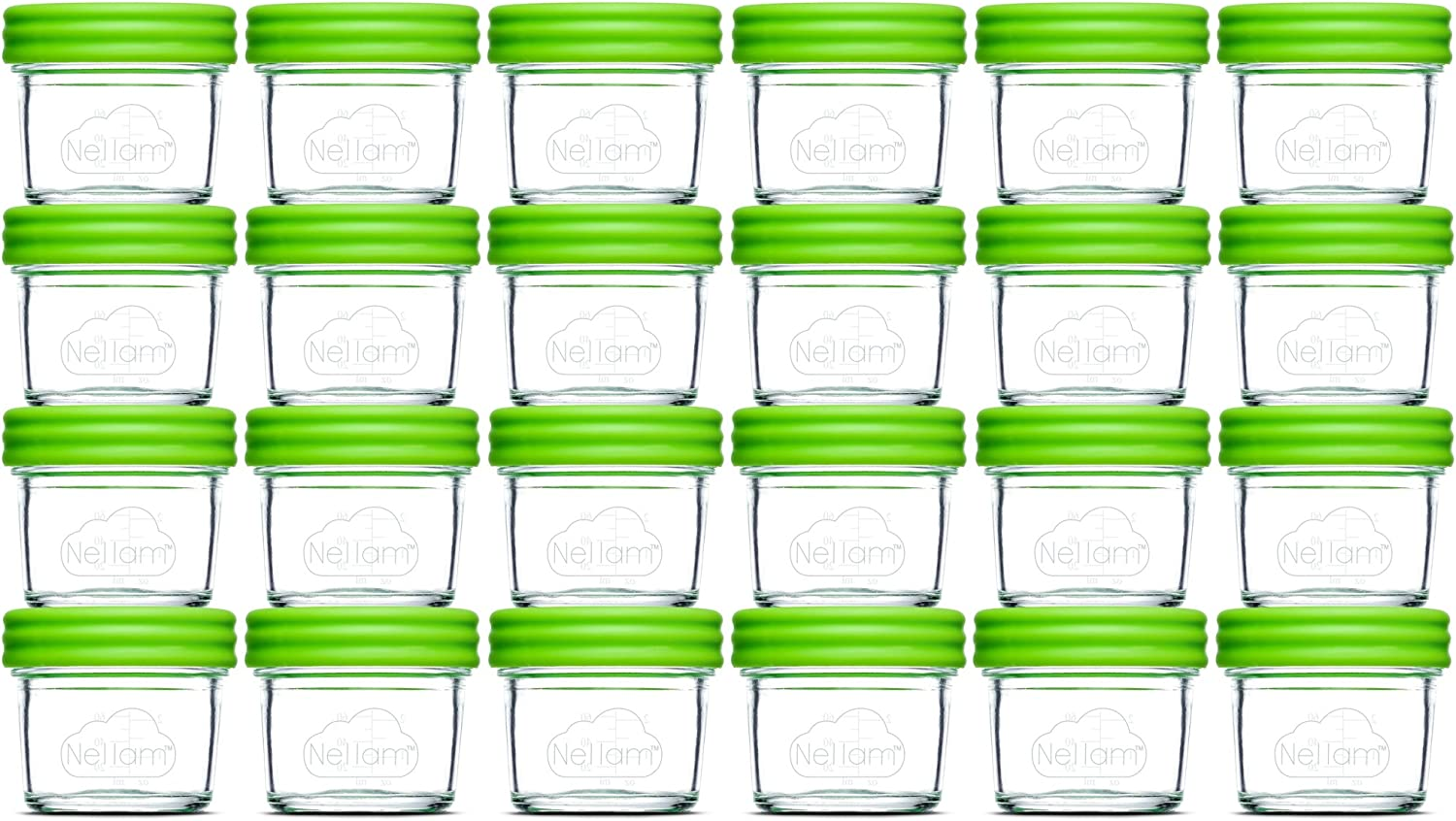 Nellam Baby Food Storage Containers - Leakproof, Airtight, Glass Jars for Freezing & Homemade Babyfood Prep - Reusable, BPA Free, 24 x 4oz Set, that is Microwave & Freezer Safe
