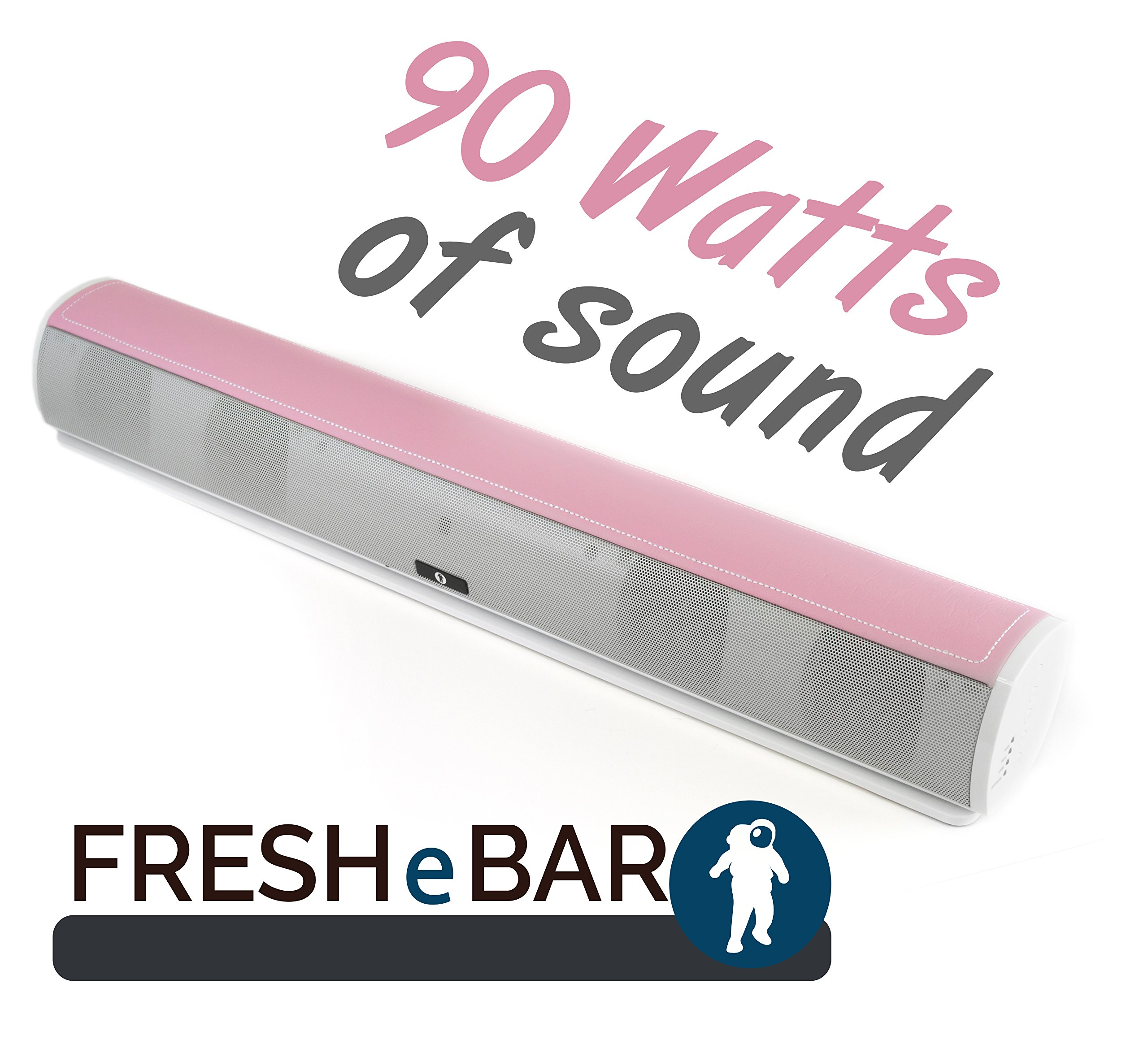 Bluetooth Leather Television Sound Bar - FRESHeBAR TV Soundbar - 24 inch, 90 Watt with Built-in Subwoofer - White / Pink Leather