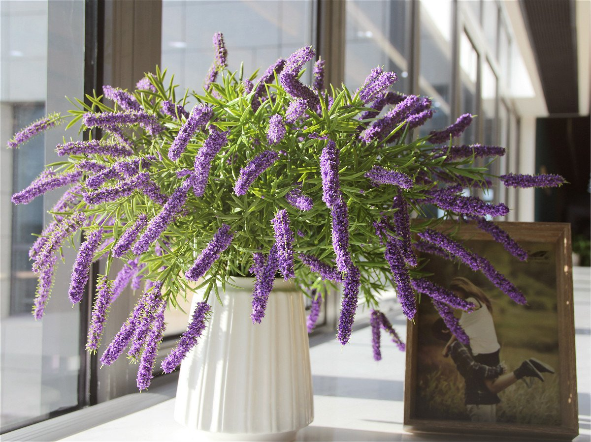 FAR SELECTIONS Artificial Silk Flowers Fake Purple Lavender for Home Garden Party Wedding Decoration