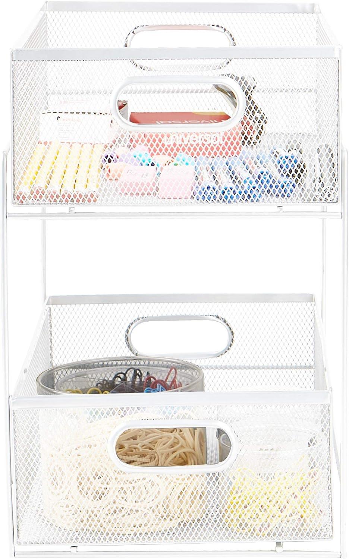Mind Reader Sliding Metal Baskets, Cabinet Storage Organizer, Home, Office, Kitchen, Bathroom, One Size, White 2 Tier Mesh