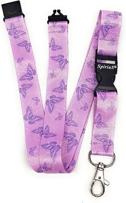 Spirius - Correa de cuello para tarjetas de identificación y llaves, diseño de mariposas, color morado: Amazon.es: Oficina y papelería