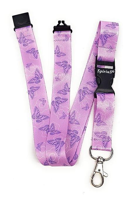Spirius - Correa de cuello para tarjetas de identificación y llaves, diseño de mariposas, color morado
