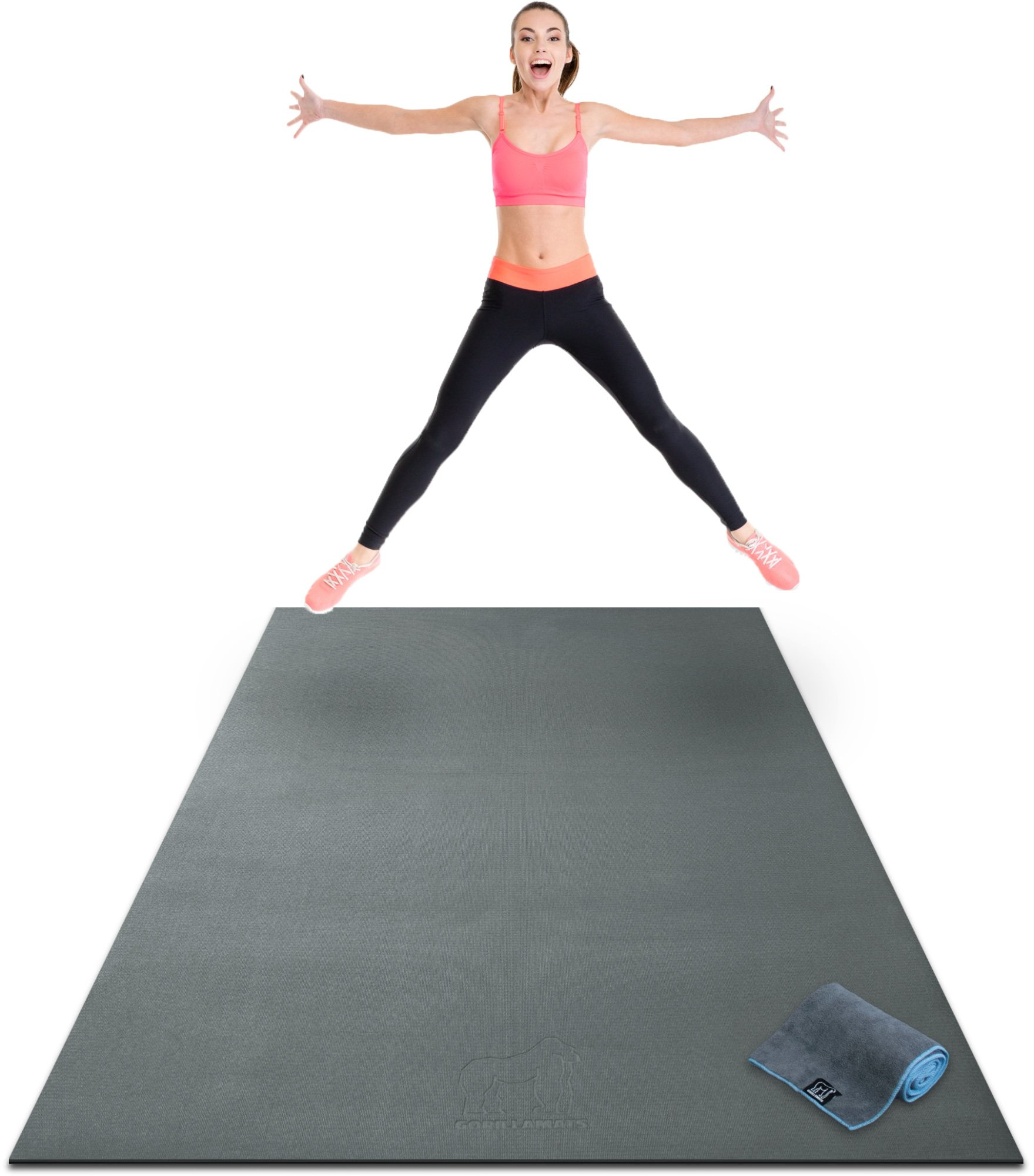 Premium Extra Large Exercise Mat - 8' x 4' x 1/4'' Ultra Durable, Non-Slip, Workout Mats for Home Gym Flooring - Jump, Cardio, MMA Mat - Use with or Without Shoes (96'' Long x 48'' Wide x 6mm Thick)