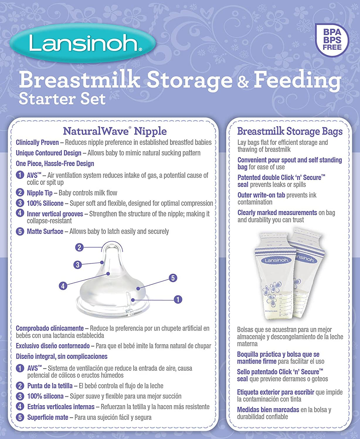 Lansinoh Breastmilk Storage & Feeding Set with 2-5 Ounce Bottles, 2-8 Ounce Bottles, 2 Slow Flow...