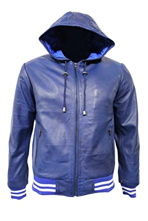 335574c49e95 BASEBALL Washed BLUE RED Men's HOODED Slim Fitted Stylish Hip Hop Rap Leather  Jacket (2XL