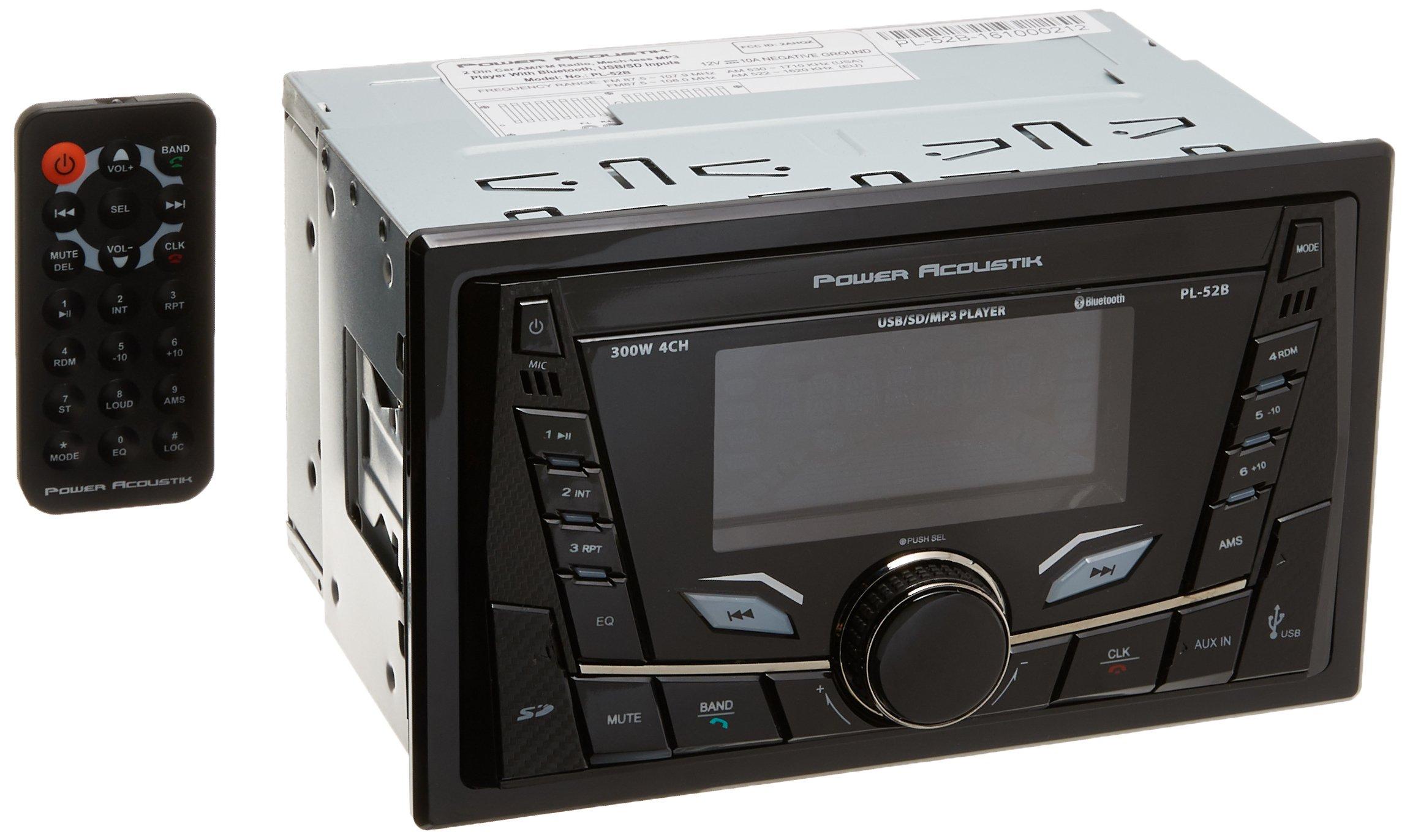 Power Acoustik PL-52B 2-DIN Digital Audio Head Unit with 32GB USB/SD/AUX/Bluetooth by Power Acoustik
