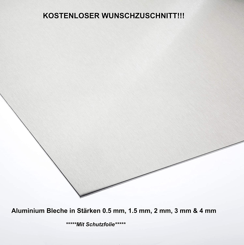500 mm x 100 mm, Alu 3,0 mm dick Gr/ö/ße nach Ma/ß Alu Neu Alublech 0,5 mm 1 mm 1,5 mm 2 mm 3 mm 4 mm Aluminiumblech ALMg3 Zuschnitt inkl Folie