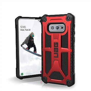 Urban Armor Gear Monarch para Samsung Galaxy s10e Funda con estándar Militar Estadounidense [Compatible con inducción, Cuero] - Rojo.