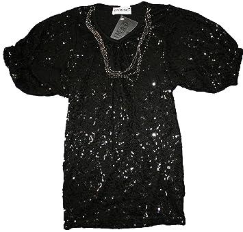 3bd285ab903ed Tee shirt paillettes avec son sautoir enfant fille Gamino noir 4ans ...