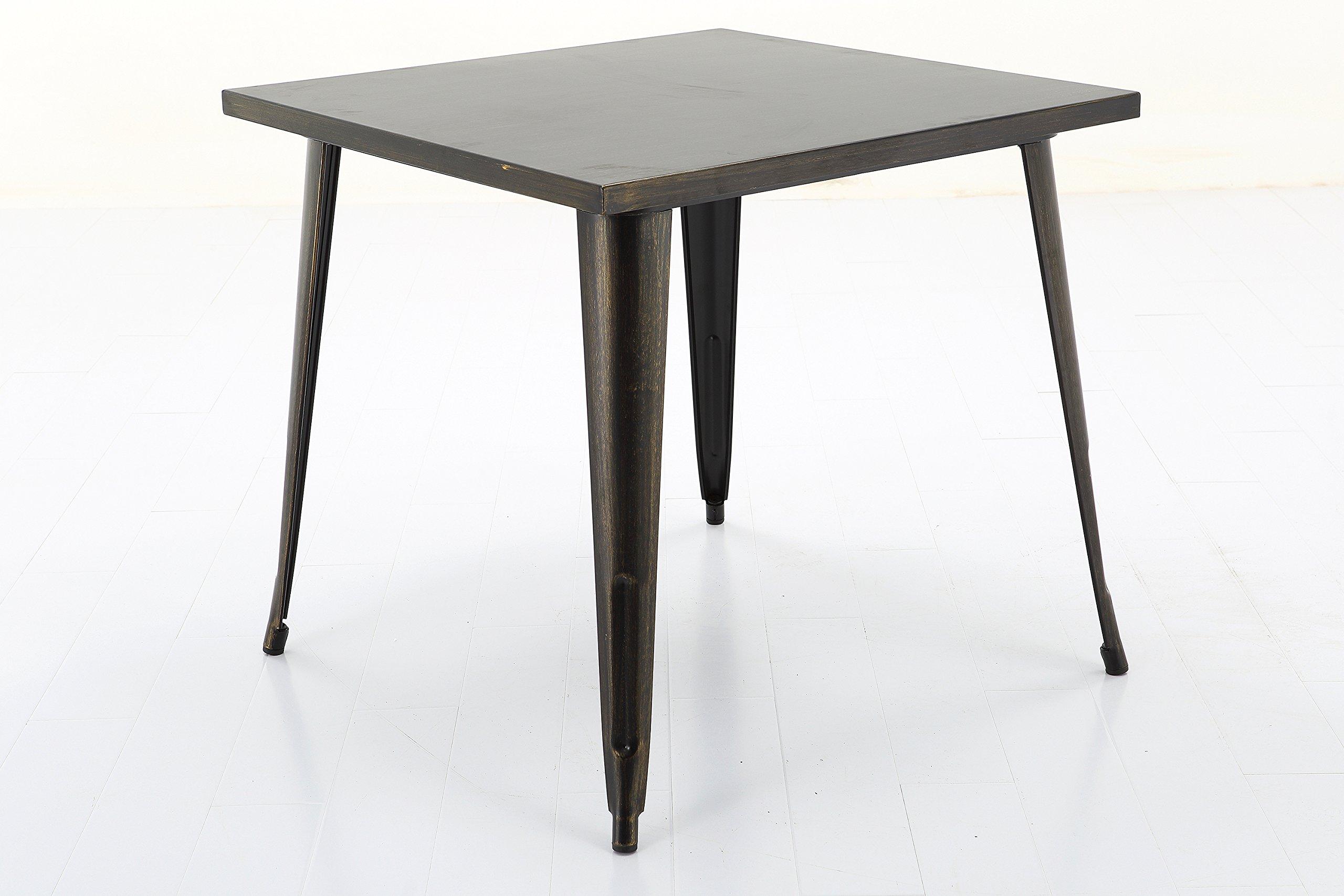 Vogue Furniture Direct Square Metal Bar/Dining Table - Antique BLACK+Gold Square VF1581036