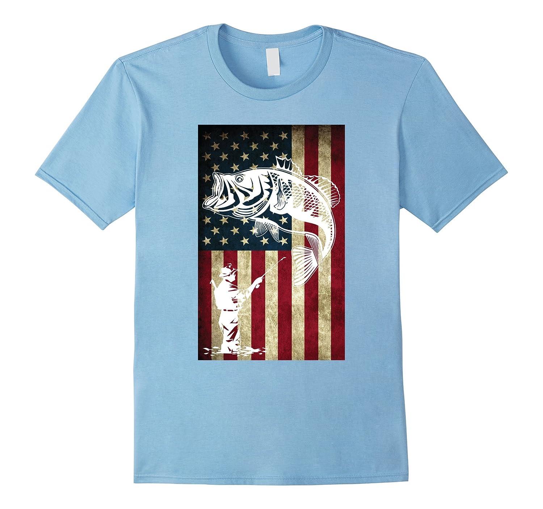 Fishing United States Flag T shirt-Xalozy