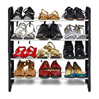Ebee Foldable Shoe Rack with 4 Shelves (Plastic Rod)