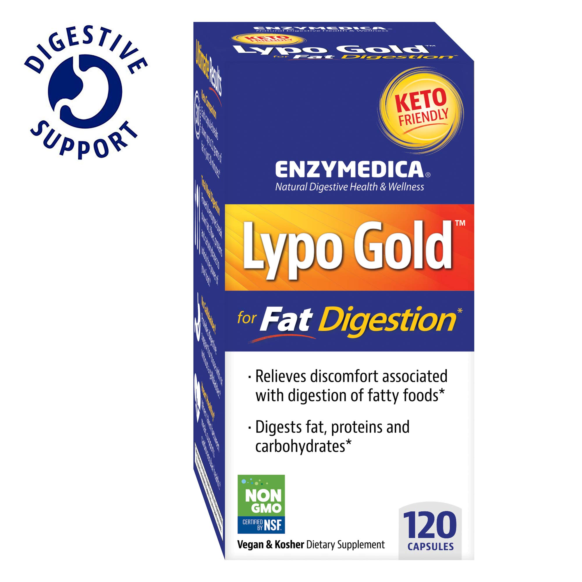Enzymedica, Lypo Gold, Keto Supplement to Support Fat Digestion, Vegan, Gluten Free, Non-GMO, 120 Capsules (120 Servings) (FFP) by Enzymedica